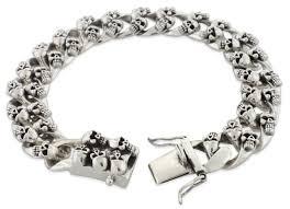 chain bracelet sterling silver images Silver skull curb chain bracelet jpg