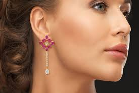 earing model designer gold plated pink petal earring available online