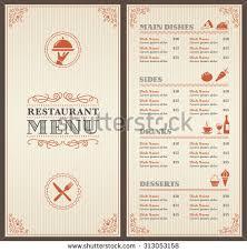 dining menu template classic restaurant menu template icons stock vector 313053158