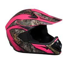 pink motocross helmet fuel mx atv helmet realtree xtra camo dot approved