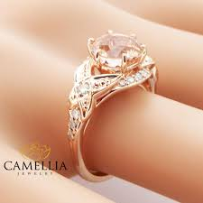 14k rose gold morganite engagement ring art deco engagement ring