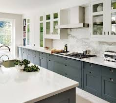 Gray Cabinets With White Countertops Kitchen With White Cabinets Grey Countertops Two Tone Cabinets In