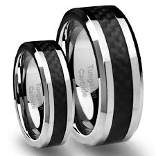 black wedding band sets his s 8mm 6mm tungsten carbide wedding band ring set with