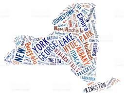 Map Of Albany New York by Word Cloud Showing The Cities In New York Stock Photo 480755344