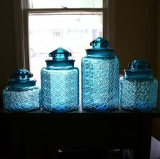 beautiful vintage blue glass canister set daisy button pattern