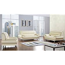 Beige Leather Living Room Set American Eagle Furniture 3 Base