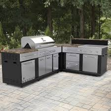 prefabricated outdoor kitchen islands shop master forge corner modular outdoor kitchen set at lowe s