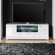Wohnzimmerm El Mit Led Fernsehtisch In Weiß Hochglanz Led Beleuchtung Jetzt Bestellen