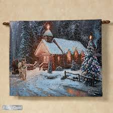 home interiors thomas kinkade prints thomas kinkade christmas chapel i lighted tapestry with rod