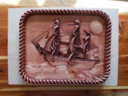 clearance sale nautical decor sail boat wood carving vintage