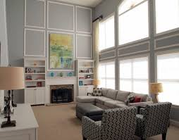 decor great room ideas with grey wall also glass window and