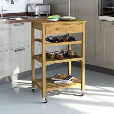 amazon com rolling bamboo kitchen island storage bakers cart