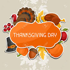happy thanksgiving day background design with sticker