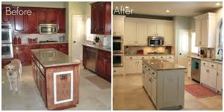 Red Mahogany Kitchen Cabinets Tile Countertops Before And After Painted Kitchen Cabinets