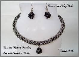 necklace making set images Tutorial beaded netted rope necklace earring jewelry set etsy jpg
