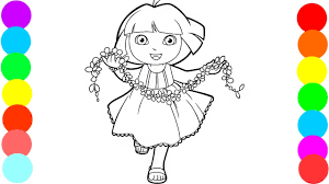 Dora The Explorer Loves Flowers Coloring Book Pages Video For Kids