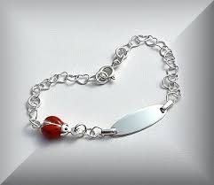engravable sterling silver charms personalized sterling silver id bracelet with ladybug charm
