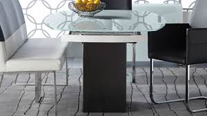 manlio white glass and black granite base extension dining table