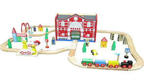 carousel train table set george home wooden lights and sound train set kids george at asda