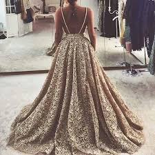 gold wedding dresses a line lace wedding dress chagne gold backless v neck sweep