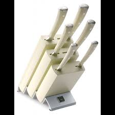 wusthof 6 piece classic ikon creme knife block set 9877