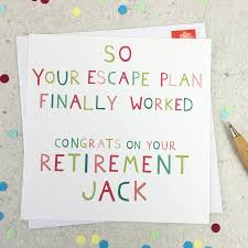 escape plan personalised retirement card by wink design