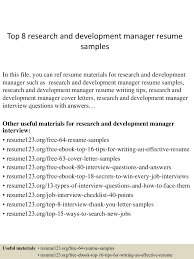 Coo Resume Examples by Top8researchanddevelopmentmanagerresumesamples 150410091127 Conversion Gate01 Thumbnail 4 Jpg Cb U003d1428675133