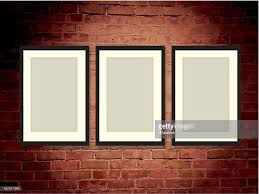 brick wall art gallery background with frames vector art getty