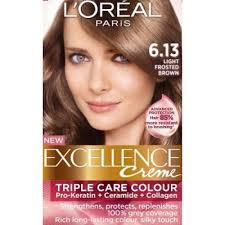 pictures pf frosted hair loreal excellence creme 6 13 light frosted brown hair color