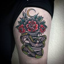 traditional snake vase rose tattoo tattoo abyss