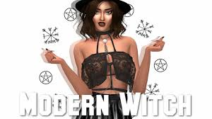 modern witch costume the sims 4 create a sim modern witch full cc list youtube