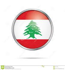Pine Tree Flag Libanesischer Flaggenknopf Des Vektors Der Libanon Flagge In Der