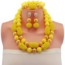 yellow necklace set images Nigerian wedding gold color ball african beads jewelry set yellow jpg