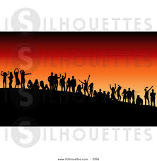 party silhouette silhouette clipart of a group of black silhouetted dancers at an