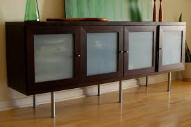 contemporary living room decor with wooden credenza in brown