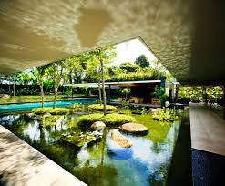 pool of luxury green house ideas with natural courtyard home