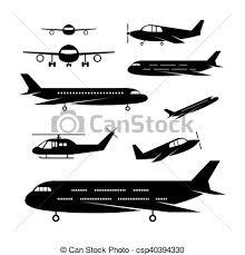 Light Jet Vectors Of Plane Light Jet Objects Silhouette Set Aircraft