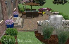 Backyard Brick Patio Design With Grill Station Seating Wall And by Switch Fire Pit To The Left Side And Dining Table Where Fire Pit