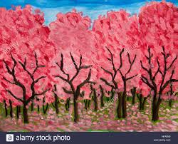 spring garden in blossom in crimson colours oil painting on acryl