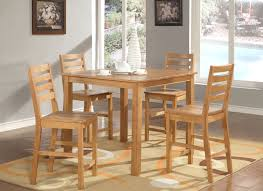 5 pc square counter height dining table 4 stools in oak finish
