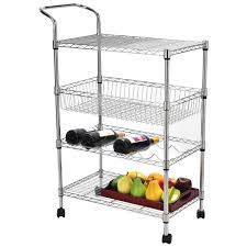 4 tiers steel kitchen trolley cart with wine shelf 176 lbs