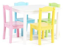 Kids Wood Table And Chair Set Tot Tutors Kids Wood Table And 4 Chairs Set White Pastel Pastel
