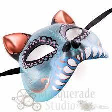 teal masquerade masks womens day of the dead cat costume theater masquerade