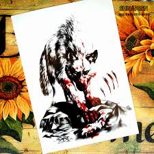 tattoo home decor bloodthirsty wolf temporary tattoo body art flash tattoo stickers