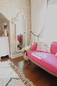 pink french settee and gold wallpaper home sweet home fab home