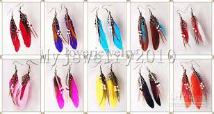 feather earring fashion indian bohemian feather earrings 10cm multicolor mix cheap