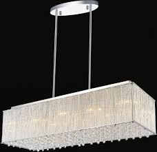 Rectangular Shade Chandelier Crystal Chrome Chandelier Pendant Light With Crystal Beaded Drum