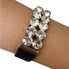 swarovski crystal leather bracelet images Swarovski crystal rhinestones on black leather cuff bracelet jpg
