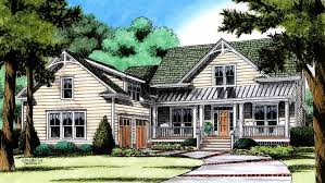 country farmhouse plan with courtyard garage hwbdo77190