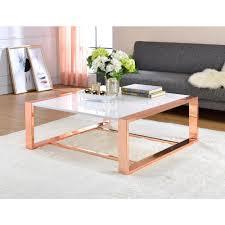 White Rose Furniture Acme Furniture Porviche White High Gloss And Rose Gold Coffee